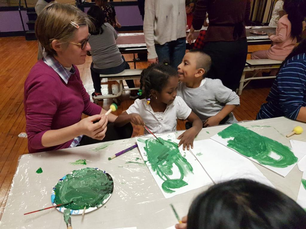 A class of art at the School of Peace in the Bronx. Extraordinary teachers: artists with disabilities of the Sant'Egidio art laboratories