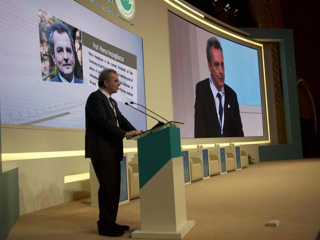 The Art Of Dialogue: Marco Impagliazzo addressing the gathering of the Global Conference on Human Fraternity, with Pope Francis