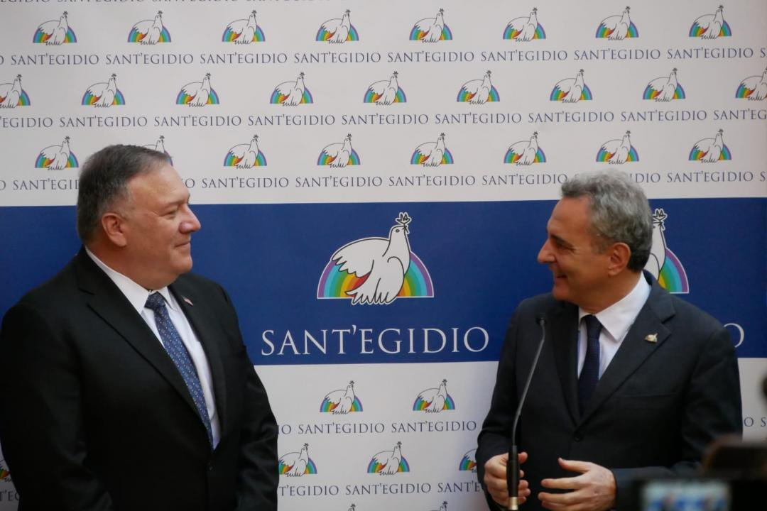 Mike Pompeo, US Secretary of State visits the Community of Sant'Egidio